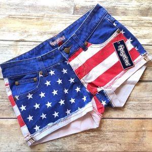 666a93ec90c2 USA America Patriotic XS Denim Shorts Tipsyelves